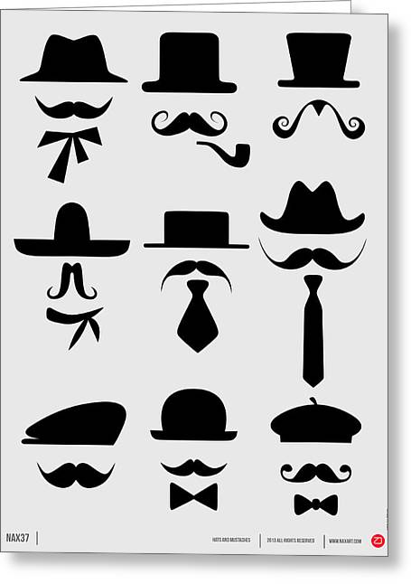 Brainy Greeting Cards - Hats and Mustaches Poster 1 Greeting Card by Naxart Studio