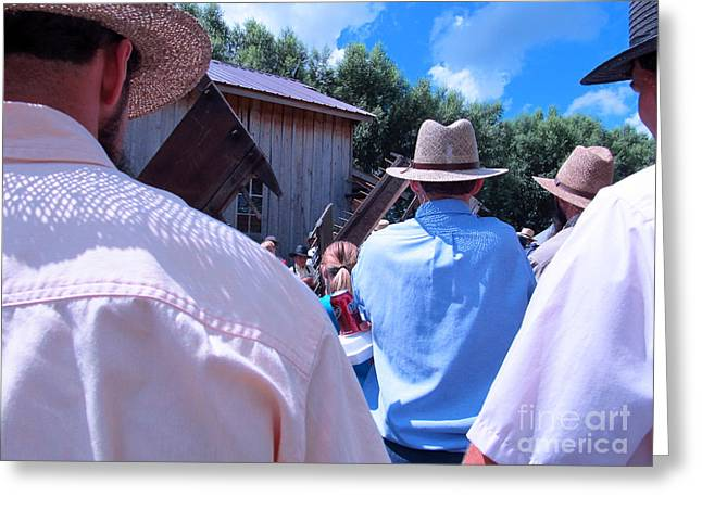 Amish Community Greeting Cards - Hats and Shirts Greeting Card by Tina M Wenger