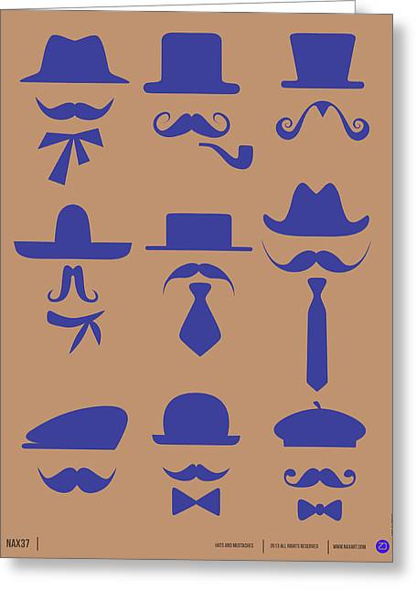 Hats Glasses And Mustache Poster 2 Greeting Card by Naxart Studio