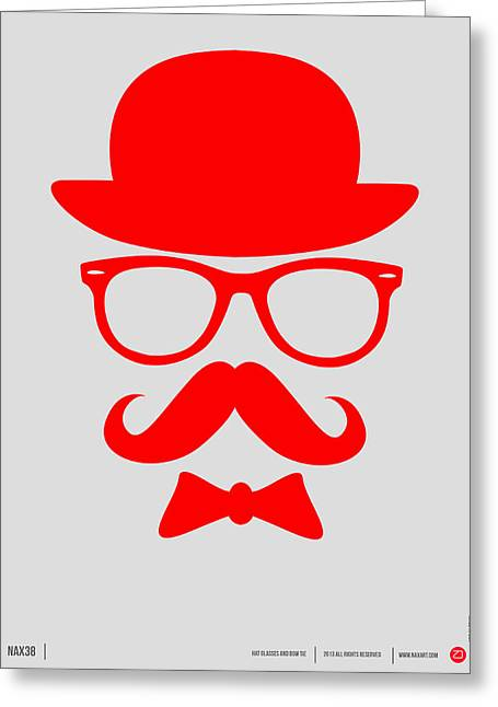 Humor Digital Art Greeting Cards - Hats Glasses and Mustache Poster 3 Greeting Card by Naxart Studio