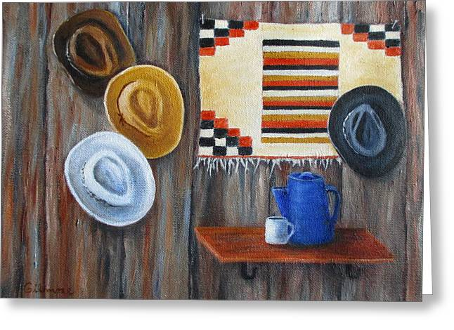 Native American Rug Greeting Cards - Hats Greeting Card by Roseann Gilmore