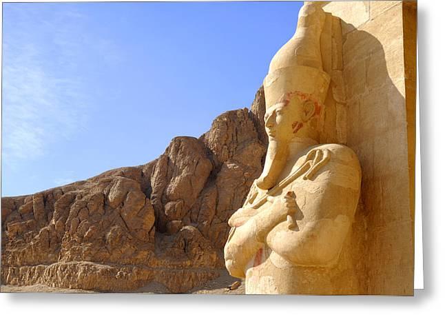 Hathor Greeting Cards - Hatshepsut gazing into eternity Greeting Card by Brenda Kean