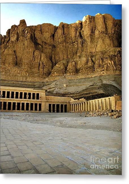 Egyptian Mummy Greeting Cards - Hatshepsut temple 01 Greeting Card by Antony McAulay