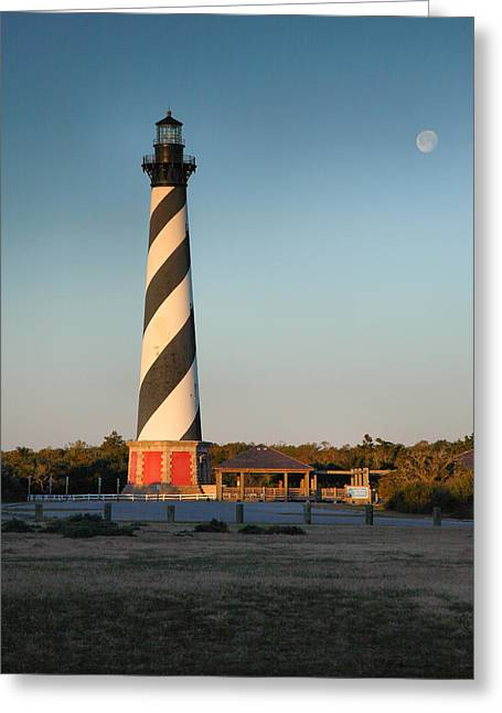 Hatteras Lighthouse And Moon Greeting Card by Steven Ainsworth