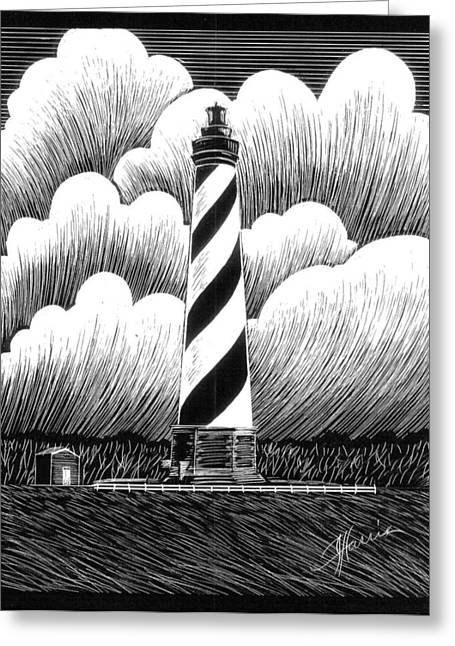 North Shore Drawings Greeting Cards - Hatteras Lighthouse Greeting Card by Jim Harris