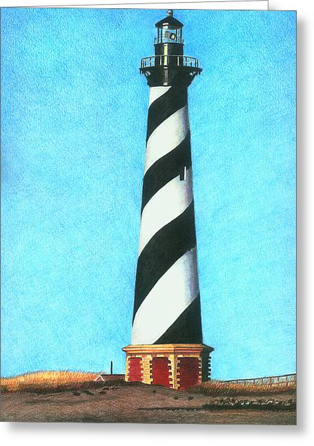 Atlantic Beaches Drawings Greeting Cards - Hatteras Lighthouse Greeting Card by Karen Rhodes