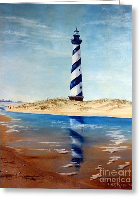 Park Scene Paintings Greeting Cards - Hatteras Lighthouse Greeting Card by Lee Piper