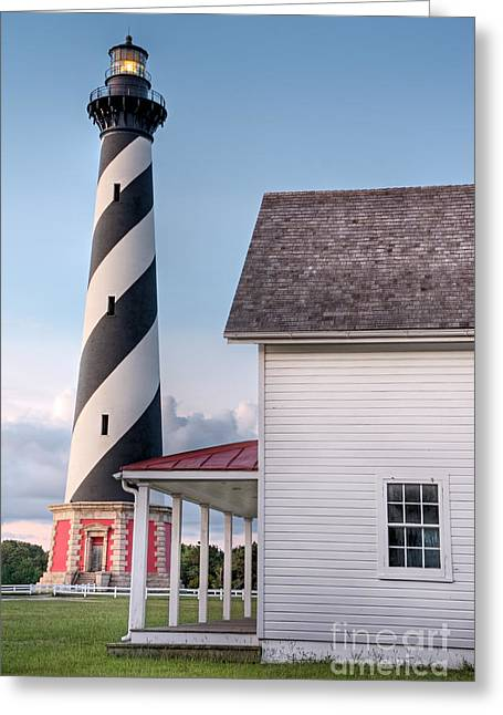 The North Pyrography Greeting Cards - Hatteras Spiral Light          Greeting Card by Dan Waters
