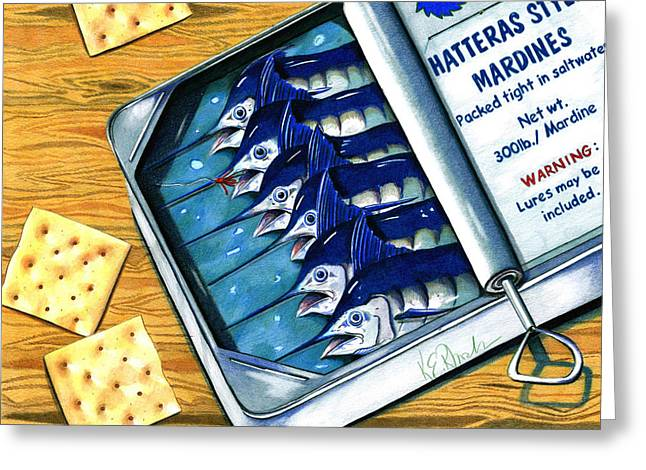 Fishing Rods Drawings Greeting Cards - Hatteras Style Mardines Greeting Card by Karen Rhodes