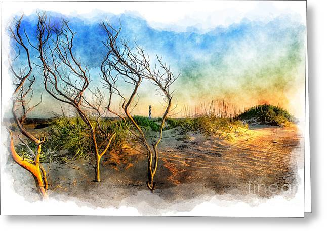 Paint Photograph Greeting Cards - Hatteras Sunrise Painting - Outer Banks Greeting Card by Dan Carmichael