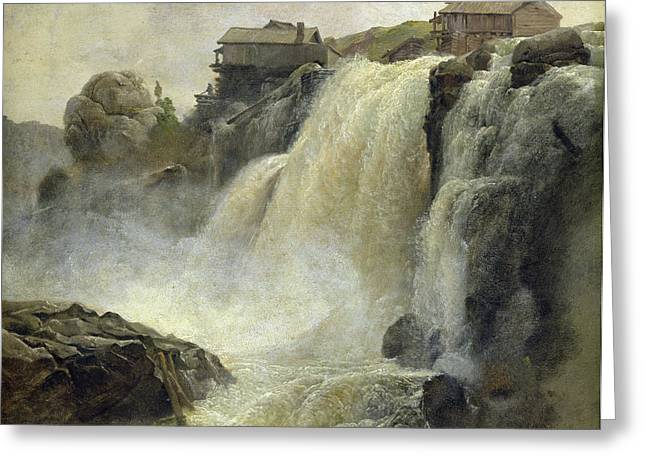 River View Greeting Cards - Haugfoss in Norway Greeting Card by Christian Ernst Bernhard Morgenstern