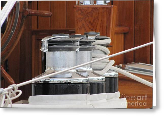Boat Hardware Greeting Cards - Haul In The Sails Greeting Card by Neil Zimmerman