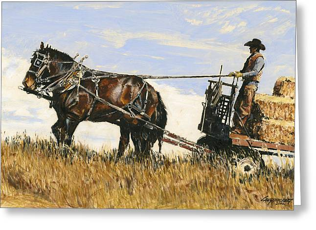 Bales Paintings Greeting Cards - Hauling Hay Greeting Card by Don  Langeneckert
