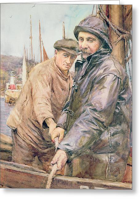 Hauling In The Net Greeting Card by Henry Meynell Rheam