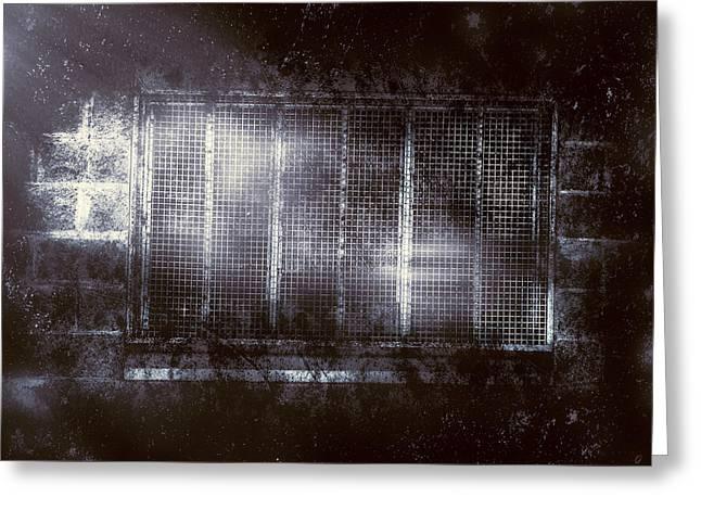 Crosshatching Greeting Cards - Haunted asylum window Greeting Card by Ryan Jorgensen