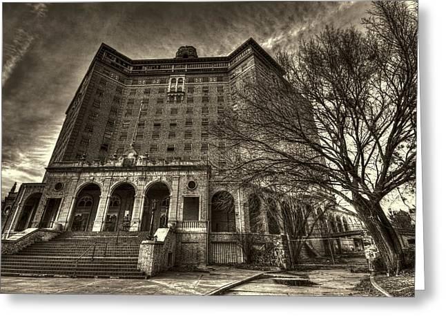 Haunted Baker Hotel Greeting Card by Jonathan Davison