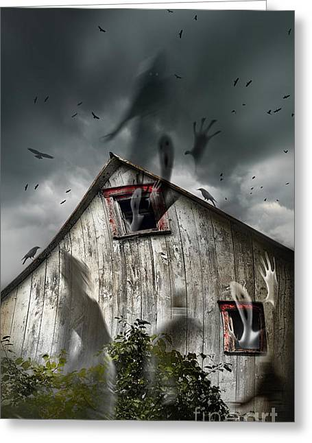 Ghostly Barn Greeting Cards - Haunted barn with ghosts flying and dark skies Greeting Card by Sandra Cunningham
