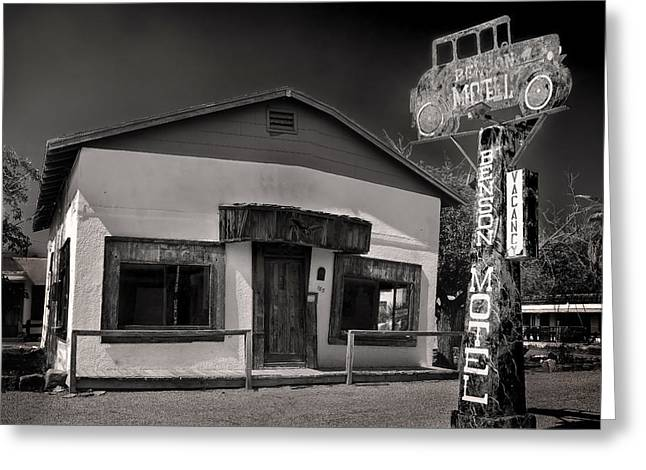 Run Down Greeting Cards - Haunted Benson Motel Greeting Card by Dave Dilli