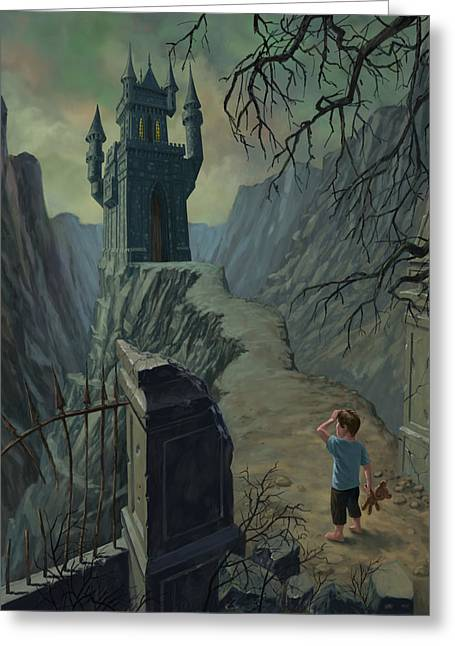Castle Horror Illustration Greeting Cards - Haunted Castle Nightmare Greeting Card by Martin Davey