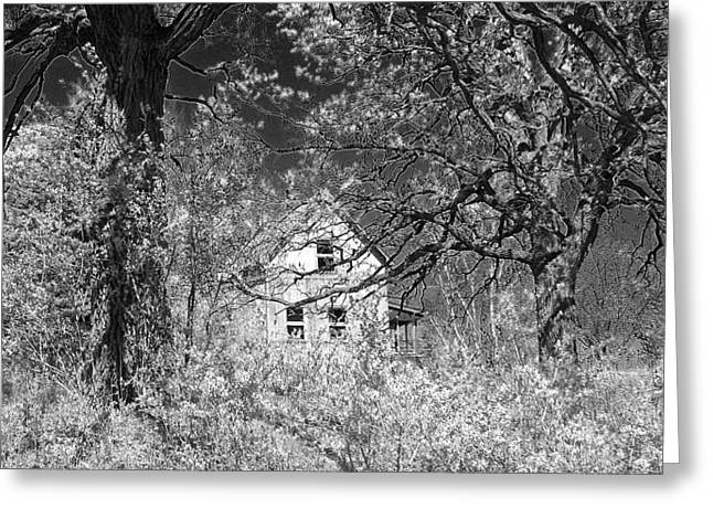 Overruns Photographs Greeting Cards - Haunted Farm House Black and White Greeting Card by Gary at TopPhotosI