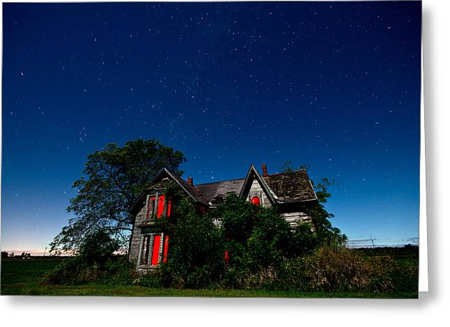 Mysterious Greeting Card featuring the photograph Haunted Farmhouse At Night by Cale Best