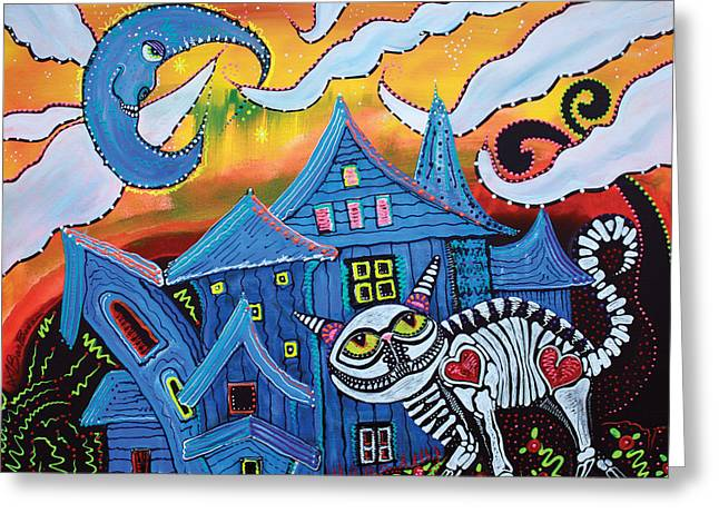 Haunted House Paintings Greeting Cards - Haunted Hollow Greeting Card by Laura Barbosa