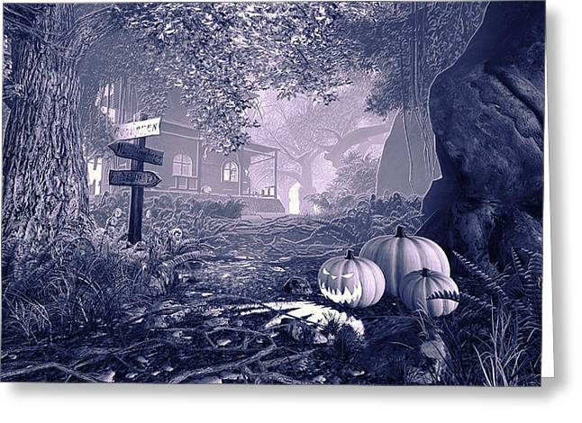 Ghastly Greeting Cards - Haunted House BW Greeting Card by Marina Likholat