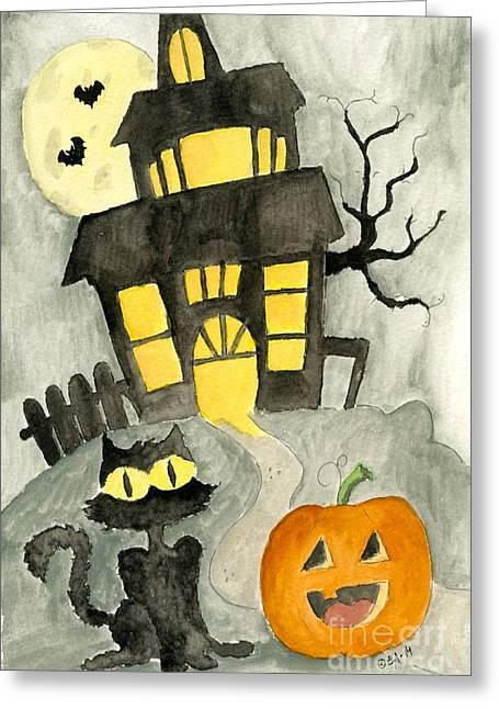 Pumpkins Drawings Greeting Cards - Haunted House Greeting Card by Eva Ason