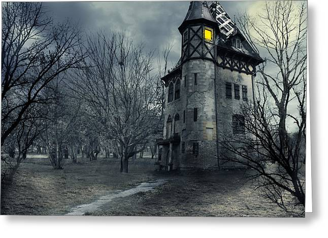 Creepy Digital Art Greeting Cards - Haunted house Greeting Card by Jelena Jovanovic