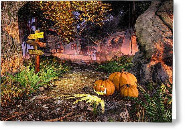 Fabled Greeting Cards - Haunted House Greeting Card by Marina Likholat