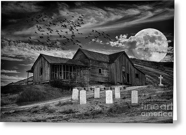 Moon Greeting Cards - Haunted House Greeting Card by Mimi Ditchie