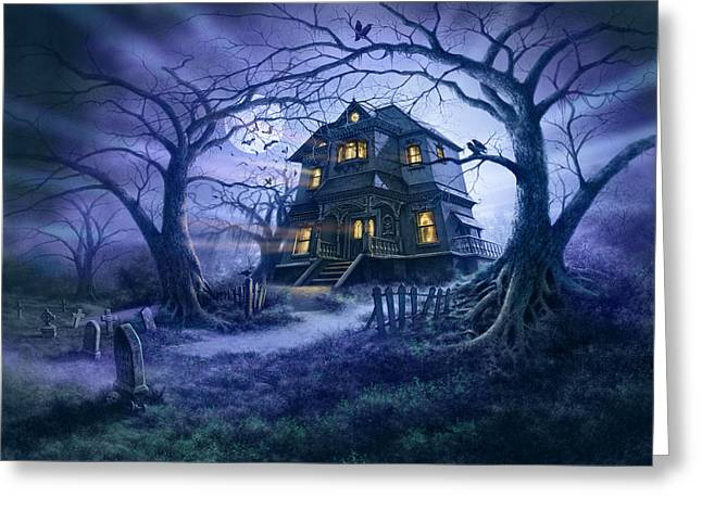 Nightmare Illustration Greeting Cards - Haunted House Variant 1 Greeting Card by Steve Read