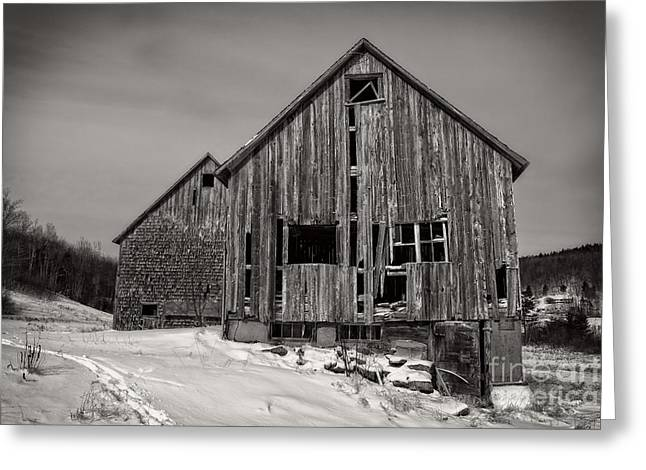Old Structure Greeting Cards - Haunted Old Barn Greeting Card by Edward Fielding