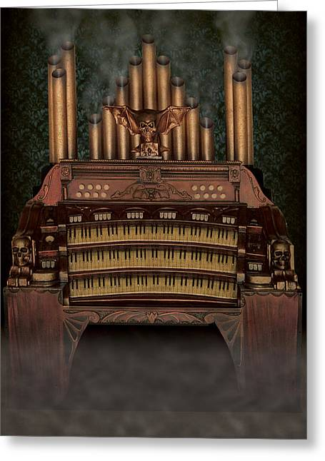 Creepy Sculptures Greeting Cards - Haunted Pipe Organ Greeting Card by Bill Jonas