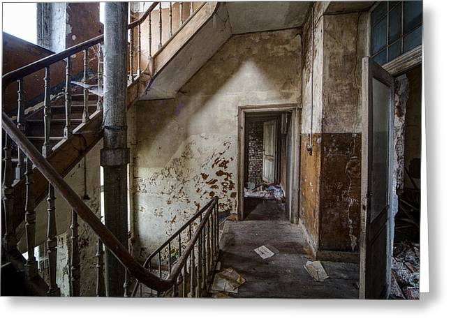 Haunted Castle Greeting Cards - Haunted Staircase Urban Exploration Greeting Card by Dirk Ercken