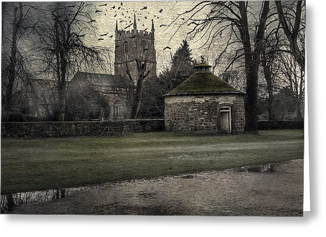 Creepy Digital Art Greeting Cards - Haunted Village Greeting Card by Svetlana Sewell