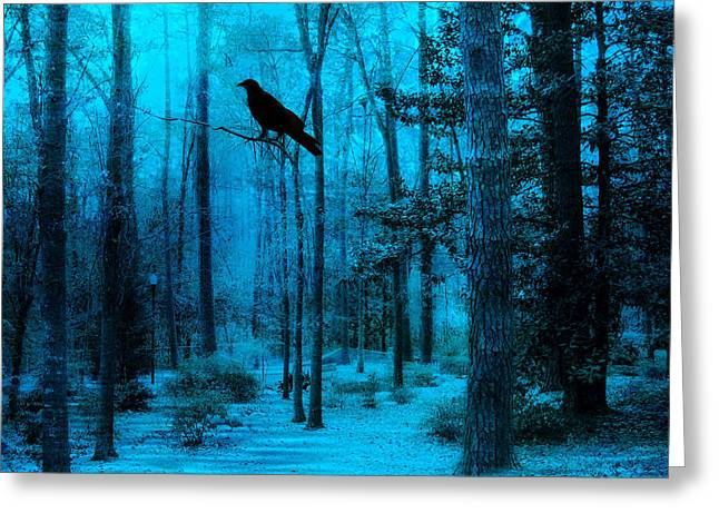 Crows In Trees Greeting Cards - Haunting Dark Blue Surreal Woodlands With Crow  Greeting Card by Kathy Fornal