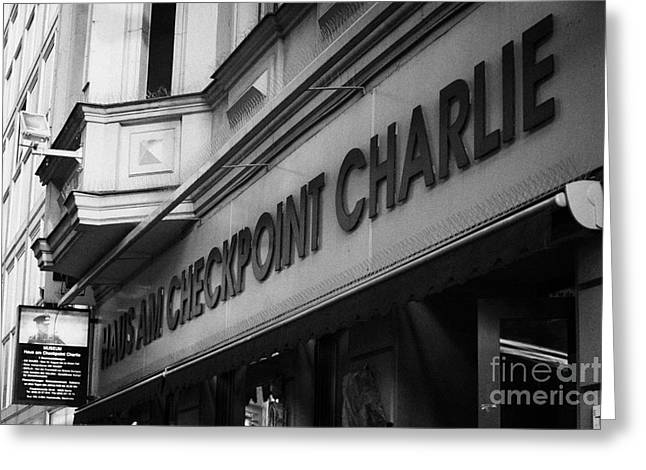 Checkpoint Greeting Cards - haus am checkpoint charlie museum Berlin Germany Greeting Card by Joe Fox