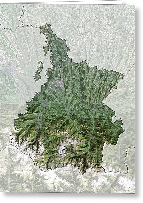 Midi Greeting Cards - Hautes-Pyrenees, France, satellite image Greeting Card by Science Photo Library