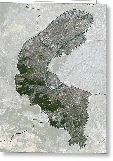Haut Greeting Cards - Hauts-de-Seine, France, satellite image Greeting Card by Science Photo Library