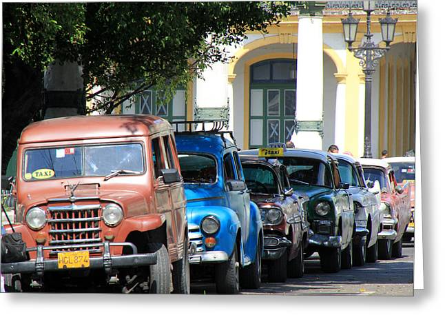 Taxi Stands Greeting Cards - Havana 21 Greeting Card by Andrew Fare
