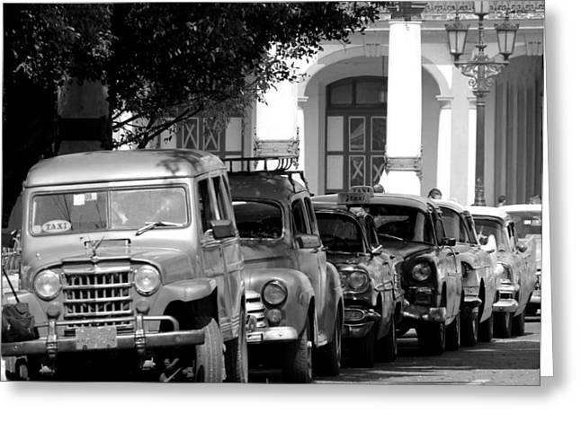 Taxi Stands Greeting Cards - Havana 21b Greeting Card by Andrew Fare