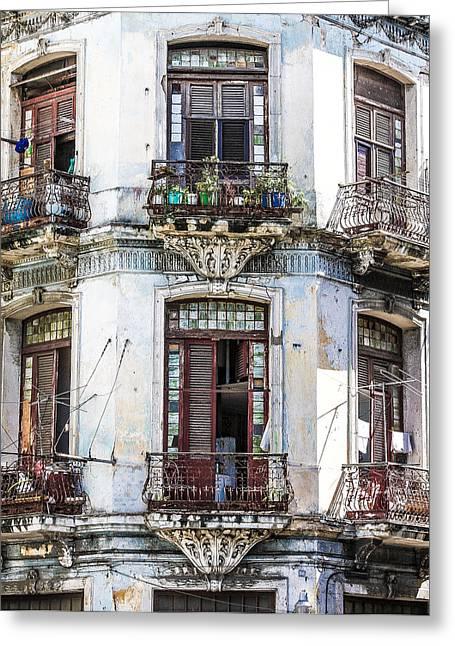 Jim Nelson Greeting Cards - Havana Balconies Greeting Card by Jim Nelson