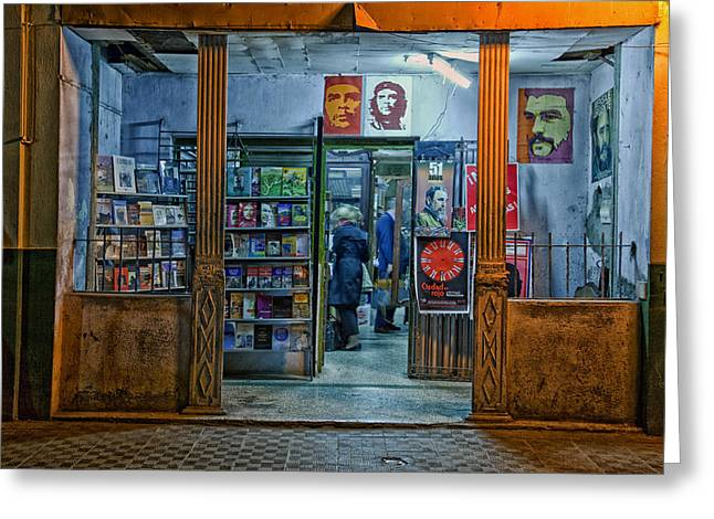 Downtown Books Greeting Cards - Havana Bookstore Greeting Card by Mountain Dreams