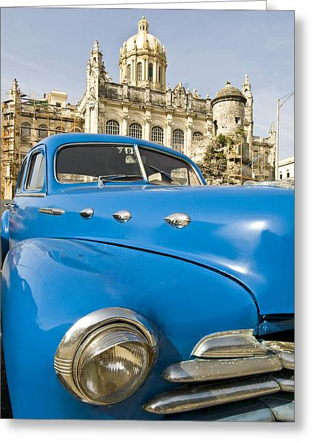 Indy Car Greeting Cards - Havana Capitol And Old American Car Greeting Card by Tips Images