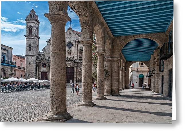 Editorial Greeting Cards - Havana Cathedral and porches. Cuba Greeting Card by Juan Carlos Ferro Duque