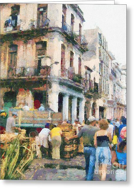 Self-government Greeting Cards - Havana street market scene paint Greeting Card by Odon Czintos
