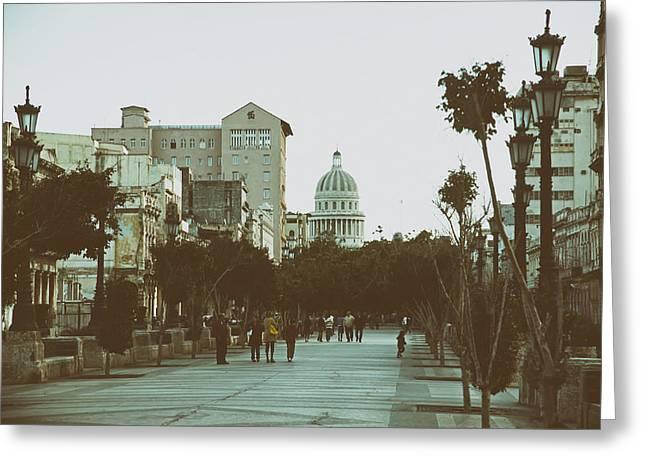Havana's Prado Promenade Greeting Card by Mountain Dreams