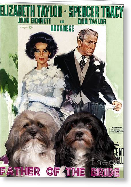 Havanese Greeting Cards - Havanese Art - Father of the Bride Movie Poster Greeting Card by Sandra Sij