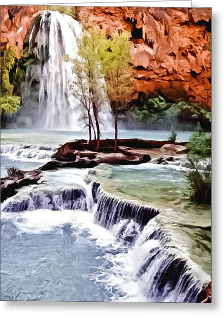 Havasau Falls Painting Greeting Card by Bob and Nadine Johnston
